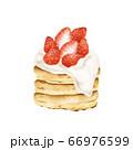 苺のパンケーキ 水彩風イラスト 66976599