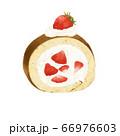 苺のロールケーキ 水彩風イラスト 66976603