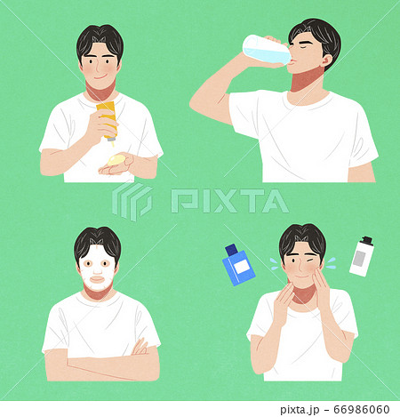 Set of men characters icon, male beauty concept illustration 011 66986060