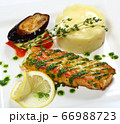Cod steak. Cod fillet with breaded pesto sauce. 66988723