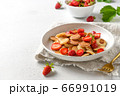 Trendy summer breakfast with mini pancakes  66991019
