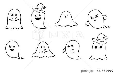 手書きのおばけのイラストのセット ハロウィン 幽霊 かわいいのイラスト素材