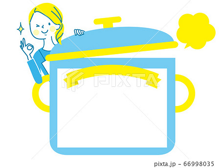 料理教室のタイトル枠とエプロン姿の女性 66998035