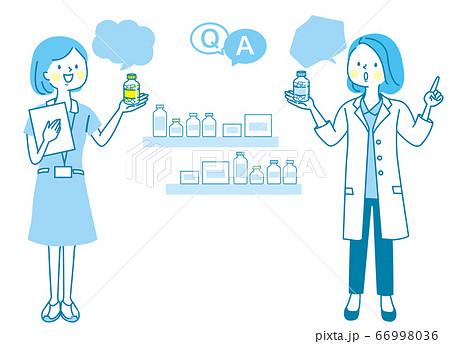 薬局のスタッフとビタミン剤/売り場/POP 66998036