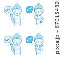 OK NG Yes No お団子頭の女性(ブルー系) 上半身 イラスト 67015432