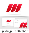 Abstract three elements vector logo w letter on business visiting card template design, colorful gradient red geometric logotype identity element, creative colorful flame in leaves curve waves mockup 67020658