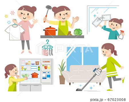 家事をする主婦のイラストレーションのセット 67023008