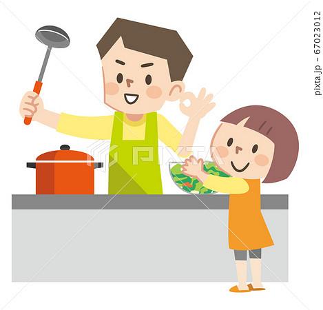 料理をする親子のイラストレーション 67023012