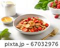 Trendy summer breakfast with mini pancakes  67032976