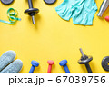 Sport dumbbells, fitness shoes, tee-shirt, 67039756