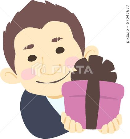照れながらプレゼントを差し出す男性 - 主線なし・やさしい色味 67045657