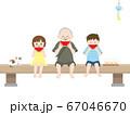 かわいい孫達と一緒にスイカを食べるイラスト 67046670