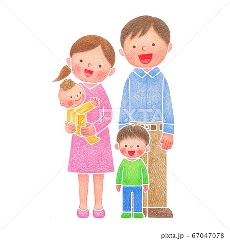 家族手描きイラスト、男の子 67047078