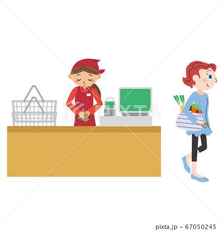 エコバックを持って買い物する女性 67050245