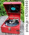 old retro gramophone with a vinyl record 67056440