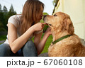 Woman on walk with dog on summer day. 67060108