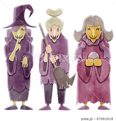 魔女3人姉妹水彩イラスト 67061618