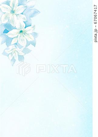 水彩で描く白ユリのはがきテンプレート 67067417