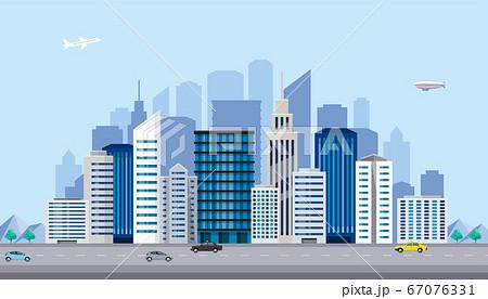 イラスト素材:都会のビル群、大都市、街 67076331