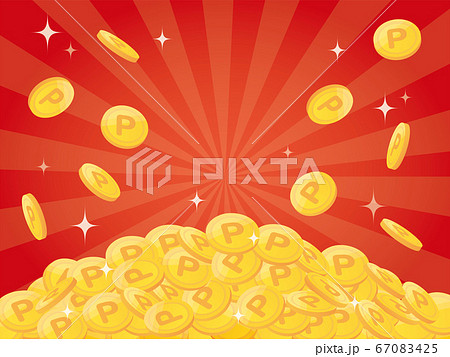 Pile of points gold coins 67083425
