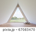 Mininal style empty triangle room interior with nature view 3d render 67083470