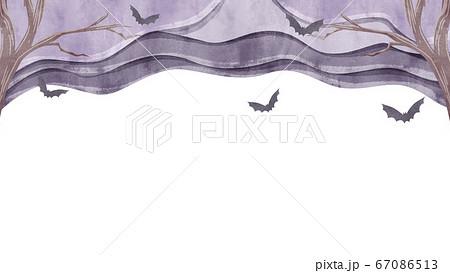 淀んだ空を飛ぶコウモリの空のイラスト 67086513