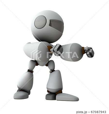 拳を構えて身構えるロボット 67087943