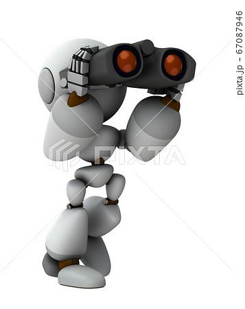 モニタリングする人工知能のロボット。3Dレンダリング。 67087946