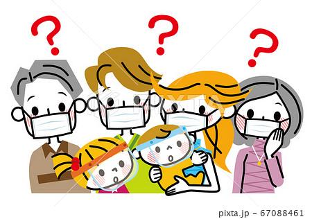 マスクとフェイスガードをつけた家族 疑問 67088461