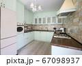 Modern white kitchen clean interior design 67098937