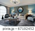 Living room interior in classic Mediterranean 67102452