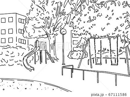 シンプルな線画で描かれた都会の公園風景人物無し影無し 67111586