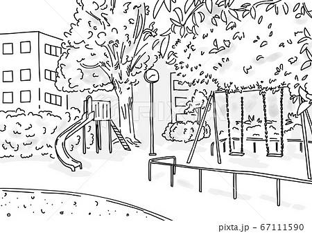 シンプルな線画で描かれた都会の公園風景人物なし影あり 67111590