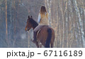 Female rider riding black horse through the snow, rear view 67116189