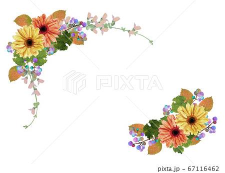 水彩の秋の花フレーム 67116462
