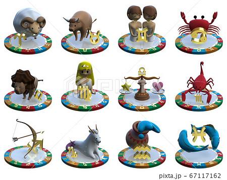 CGイラスト 4つの属性を表す台に乗った星占いのキャラクター 12星座 背景透明 67117162