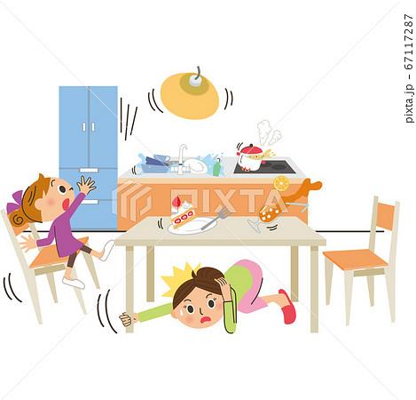 災害 地震 キッチン 落下 食事中 67117287