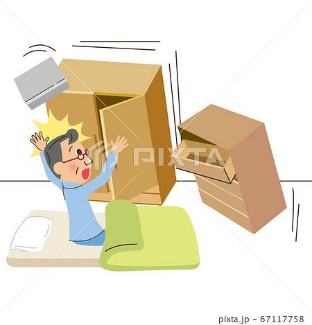 災害 地震 寝室 落下 67117758