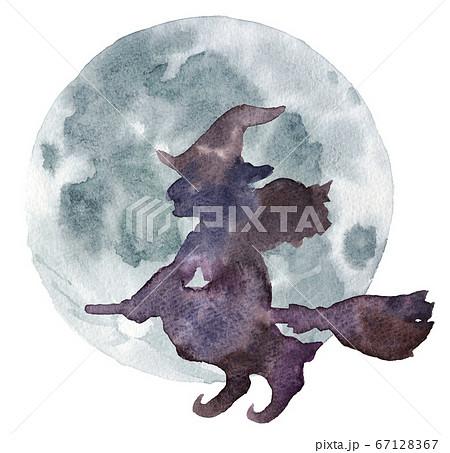 水彩_満月とほうきで空を飛ぶ魔女のシルエット 67128367
