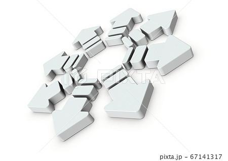 中心部から八方に広がる矢印。3Dイラスト。 67141317