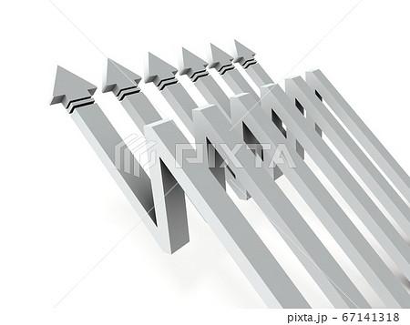 下落したのち急上昇する矢印。3Dレンダリング。 67141318