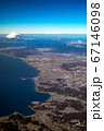 空撮 相模平野 逗子、七里ガ浜、鎌倉、江の島から丹沢、富士山、日本アルプスと相模灘 67146098