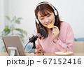 YouTubeで咀嚼音を配信する若い女性 67152416