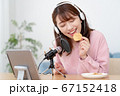 YouTubeで咀嚼音を配信する若い女性 67152418
