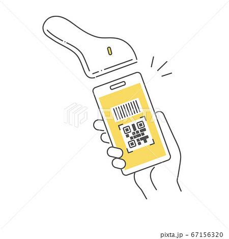 スマホの電子決済で支払いをするイメージイラスト 67156320