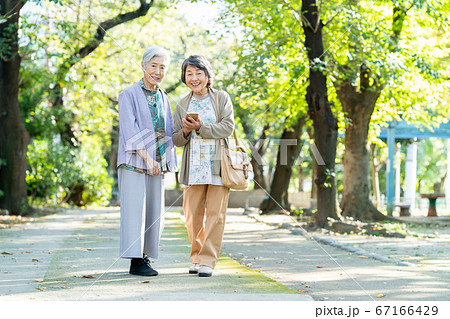 シニア 女性 旅行 観光 友達 67166429