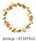 水彩の紅葉とドングリのフレーム 67167612