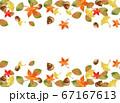 水彩の紅葉とドングリ秋フレーム 67167613
