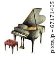 黒いピアノとイス 手描き 67171405