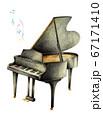 黒いグランドピアノと音符 手描き 67171410
